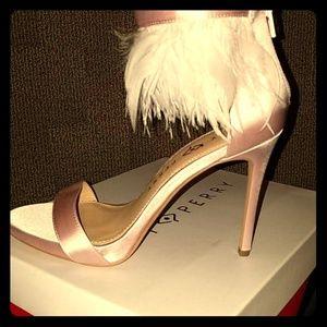Katy Perry pale Pink fringe heels